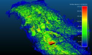 fig. 4. Densità superficiale della nuvola in prossimità della frana. Il suo valore medio è di circa 70 p.ti /m2.