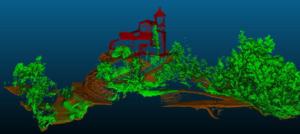 Figura 4. Esempio di classificazione. In rosso i punti indicati come costruzioni, in verde i punti vegetazione ed infine in marrone quelli indicati come terreno.
