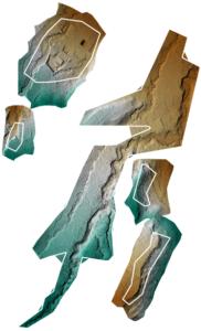 Figura 5. Modelli digitali del terreno delle cinque aree sorvolate