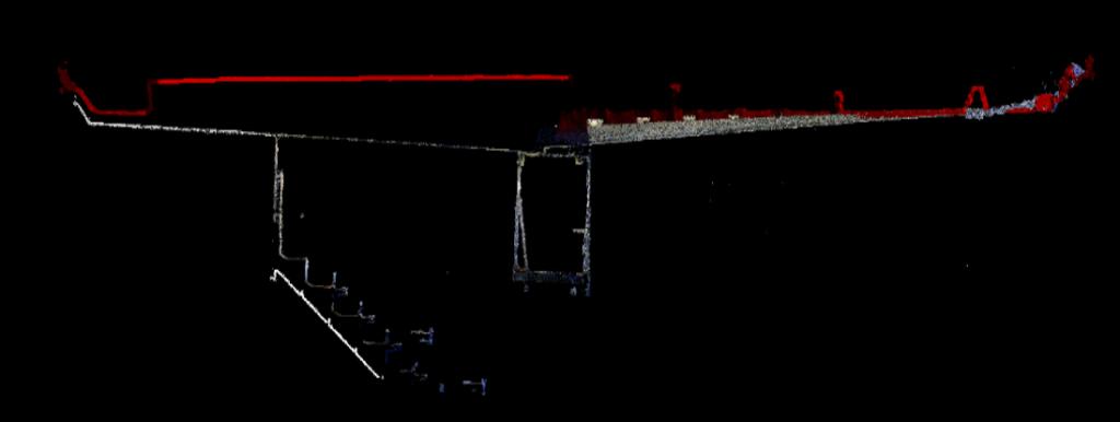 fig. 9. Sezione Longitudinale #2. Nuvola LiDAR vs nuvola fotogrammetrica (rosso)