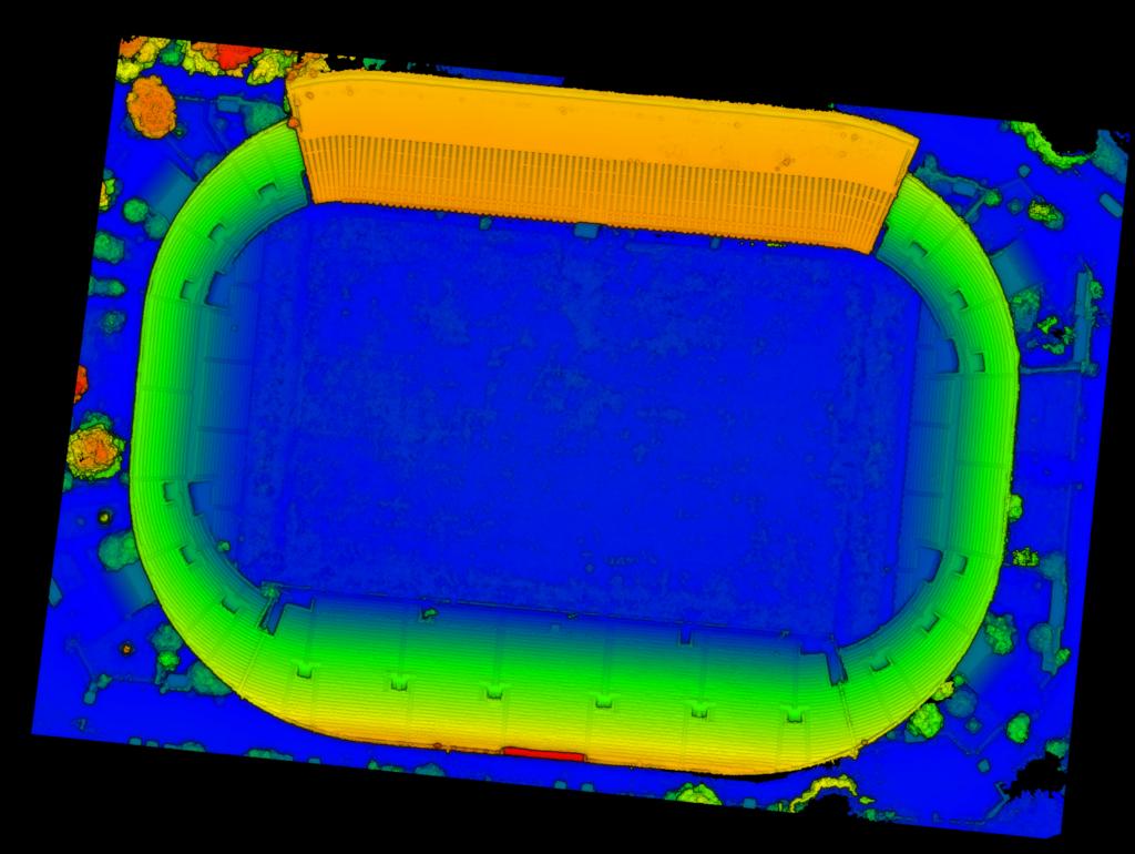 fig. 8. Nuvola dell'intero stadio Flaminio. I colori indicano le quote. Blu (64m) Rosso (87m)